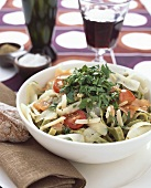 Noodle salad with salmon, scorzonera and parsley