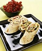 Wraps with salmon, pistachios & reindeer, redcurrants (Sweden)