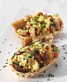 Matje herring, courgette and scrambled egg tartlets