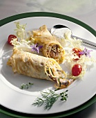 Crepes with matje herring & vegetable filling & yoghurt dill sauce