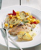 Red mullet fillet with rosemary potatoes, pumpkin & peppers