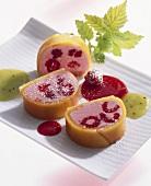 Mango and raspberry terrine with raspberry sauce