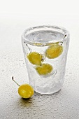 Ice glass with schnapps and mirabelles