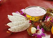 Beetroot yoghurt with pitahaya and rambutans (India)