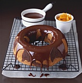 Marble cake with chocolate coating and orange zest