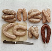 Various types of sausages at the butcher's