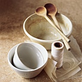 Pudding basins, wooden spoons, kitchen string, baking parchment