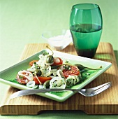 Tomato and onion salad with giant capers