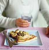 Swordfish steak with potatoes and lentils