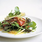 Watercress salad with tomato and Parmesan shavings