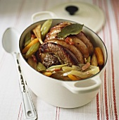 Braised beef with vegetables in casserole