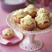 White chocolate muffins on cake stand