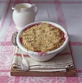 Rhubarb crumble in a white dish