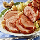 Rolled roast of cured pork (Kasseler) with chestnuts