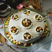 Buckwheat cake with sugar eggs and pistachios for Easter