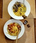 Spaghetti alle vongole und Bucatini all'amatriciana (Italien)