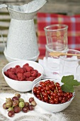 Berries in bowls, sugar, juice glasses, jug on garden table