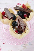 Berries and chocolate in yufka pastry shells