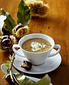 Chestnut cream soup with crème fraîche