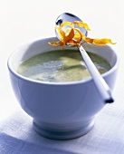 Chard soup with sweet potato crisps