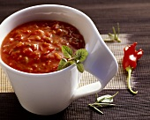 Spicy tomato dip with chillies