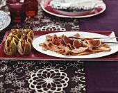 Roast duck breast (medium-rare) with figs