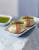 Sweet rice dumplings with kiwi fruit and rhubarb