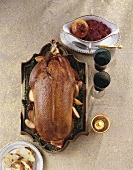 Stuffed goose with red cabbage for Christmas