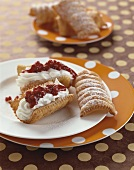 Spagatkrapfen (Austrian doughnuts) with cream & cranberries