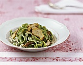 Green ribbon pasta with mushrooms