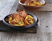 Pumpkin hash with peppers and bacon