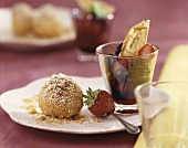 Semolina dumpling with berry compote