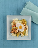 Apple and shrimp hash with fried egg