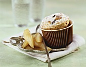 'Log pyre' (bread and butter pudding) with glazed pears