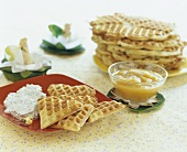 Herb waffles with quark dip and apple puree for children