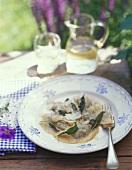Schlutzkrapfen (pasta parcels) with sage & Parmesan (S. Tyrol)