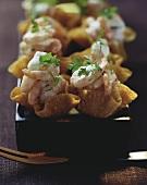 Shrimps in wonton baskets