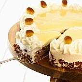 Advocaat cake, a slice cut