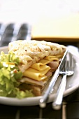 Toasted ham and cheese sandwich with salad garnish