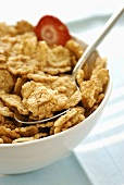 Cereal flakes in cereal bowl with spoon