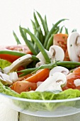 Vegetable salad of green beans, mushrooms and tomatoes