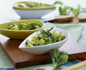 Green vegetable stew with Brussels sprouts, spinach & ham