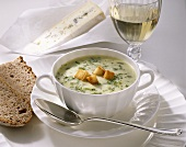 Cheese & leek soup with croutons, bread, glass of white wine