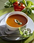 Creamed tomato soup with basil