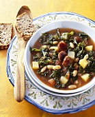 Kale soup with white beans and chouriço (Portugal)