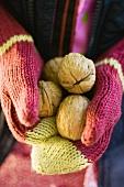 Child's hands in woollen mittens holding walnuts