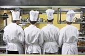 Four chefs from behind