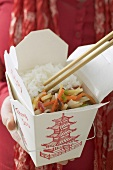 Asian vegetables with rice to take away