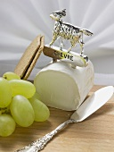 Chèvre, green grapes, crackers and cheese knife