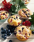 Redcurrant and blueberry muffins in paper cases